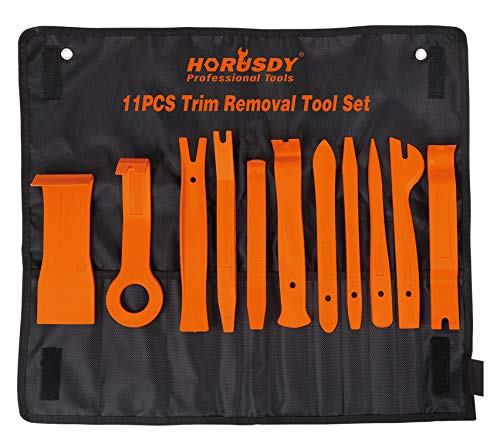 HORUSDY 11Pc Auto Trim Removal Tool Kit, Door Panel Window Molding Upholstery Fastener Clip Removal Tool Set