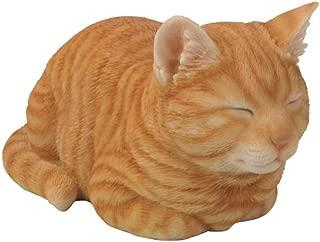 Hi-Line Gift Ltd Tabby Sleeping Cat Statue, Orange