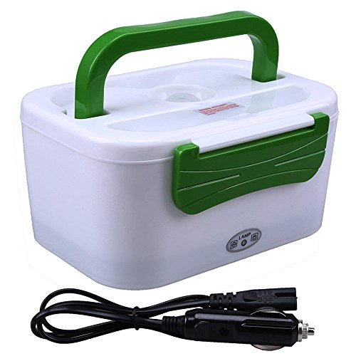 WHOSEE Portable 12V Car Use Electric Heating Lunch Box Bento Meal Heater Food Warmer 45W Green