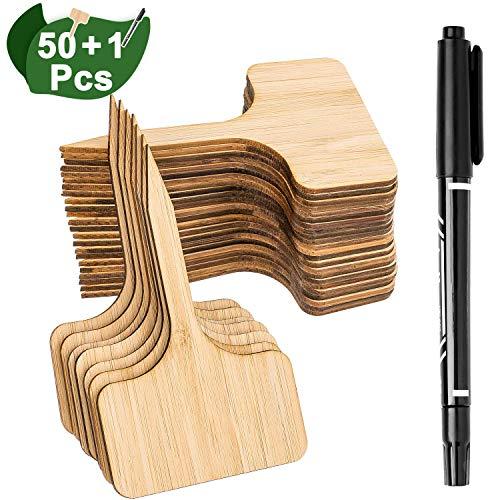 Whaline 50Stk Pflanzschilder Bambus, T-Form Pflanzenstecker Beschriften Stecketiketten und Marker Pen für Baumschulen Pflanzenzucht Zierpflanzen Topfkräuter Blumen Gemüse