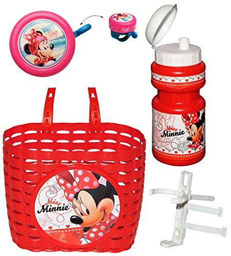 Unbekannt 3 TLG. Set: Fahrradkorb + Fahrradflasche + Fahrradklingel - Disney Minnie Mouse - mit Befestigung für Lenker vorn - Fahrrad Maus Mickey - rot - universal auch..