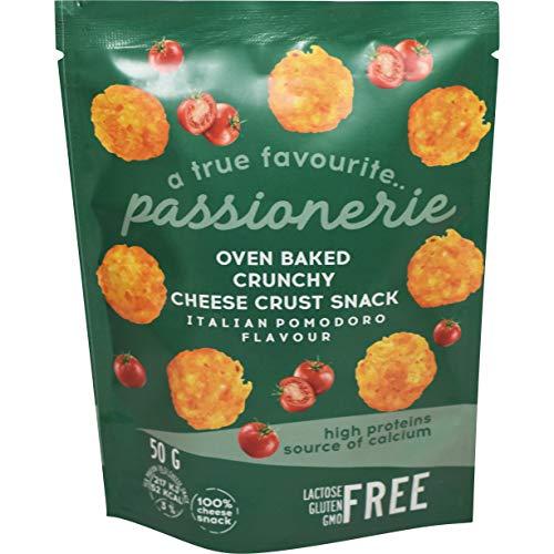 Passionerie - Snacks crujientes de queso al horno, sabor a tomate italiano, 50 g (paquete de 8)