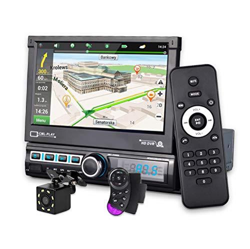 CarThree Single Din Car Stereo with GPS Navigation Camera Map 7 Inch HD Car Radio Touch Screen Bluetooth Autoradio MP3 MP5 Video Stereo Radio