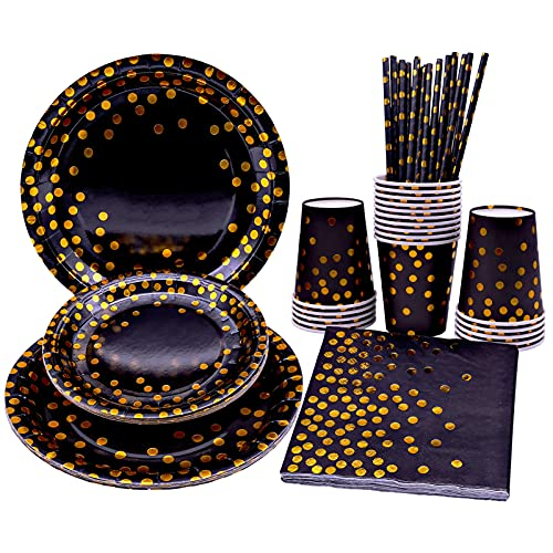White and Gold Party Tableware Disposable Party Supplies Plates Napkins Cups Straws for Birthday Party Wedding Bridal Shower Engagement Christmas