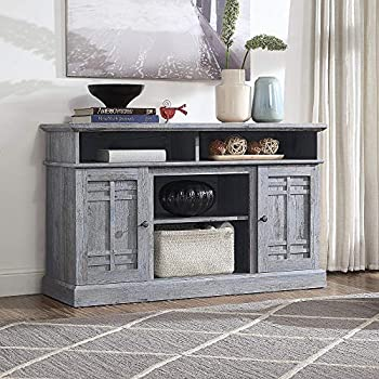 BELLEZE 48 Inch Wood Television Stand for TVs Up to 50  Console with Media Shelves Light Grey