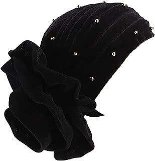 🧢India Muslim Fashion Women's Hijabs Headscarf Big Flowers Soft Chemotherapy Hat residentD