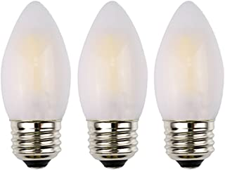 OPALRAY C35 LED Candelabra Bulb, 2W Dimmable, 25W Incandescent Equivalent, High CRI Warm White Light, Frosted Glass Housing, E26 Medium Base, Torpedo Tip, 3 Pack