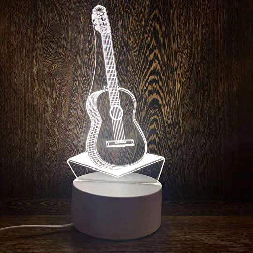longhua Lámpara de Mesa de acrílico 3D con luz Nocturna LED, Dormitorio USB, Sala de Estar