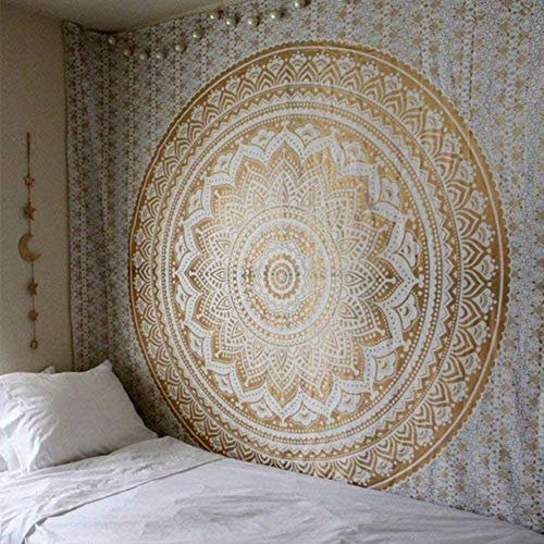 Indian Mandala Wall Hanging Tapestry Ombre Tapestry Hippie Bohemian Gold Metallic Mandala Wall Hanging Tapestry Aesthetic Tapestry Psychedelic Trippy Tapestry For Bedroom Home Decor.82x59Inch