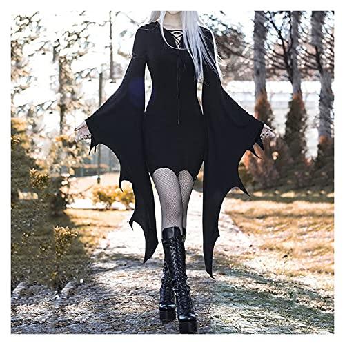 GUOQUN-SHOP Disfraz de Cosplay de Vampiro de Bosque Medieval para Mujer Vintage gtico Sexy Vestido Delgado de Halloween Vestido de Fiesta de Carnaval (Size : A-XXXL)