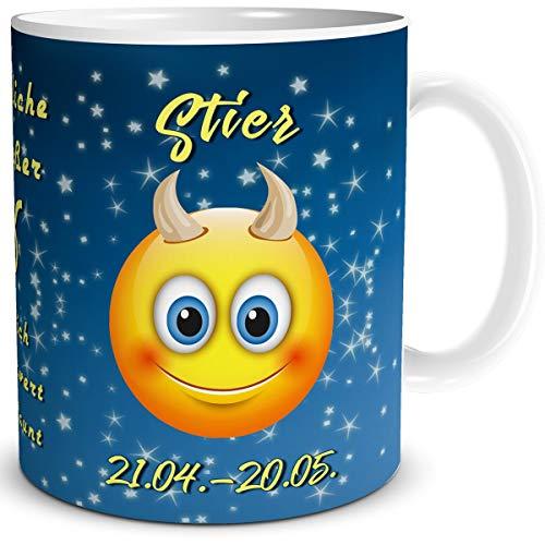 TRIOSK Tasse Smiley mit Spruch lustig Sternzeichen Stier Geburtstagstasse Geschenk für Frauen Männer Arbeit Büro Kollegen Geburtstag