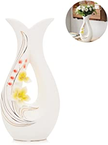 Tall White Ceramic Flower Vases,11.6'' High Decorative Vases with Handmade Porcelain Yellow Flowers for Living Room, Kitchen, Table, Home, Office, Centerpiece, Wedding, Party or as a Gift