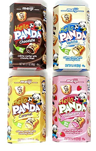 Meiji Hello Panda Cookies Variety Pack of 4 flavors (Chocolate, Vanilla, Strawberry, Caramel) (1 of each, total of 4)