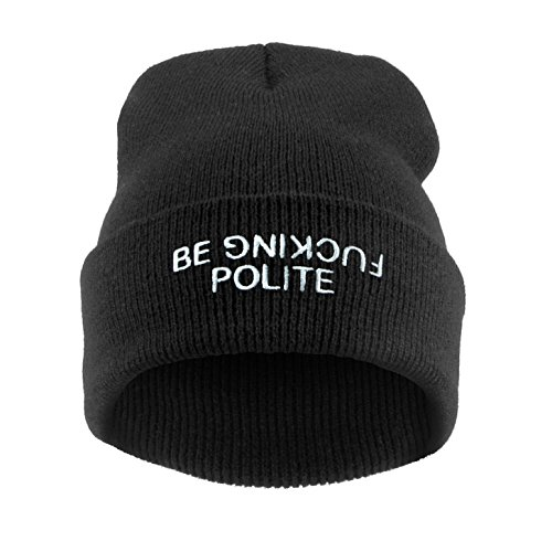 Fringoo Men's Beanie Hat Winter Bad Hair Day Parental Advisory Wasted Homies One Size Be Fcking Polite