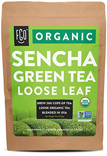 Organic Sencha Loose Leaf Tea | Brew 200 Cups | Imported from Japan | 16oz/453g Resealable Kraft Bag | by FGO