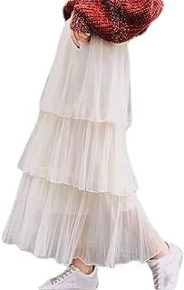 GRMO Las Mujeres con Niveles de Tul de Malla de Cintura Alta Falda Maxi Largo