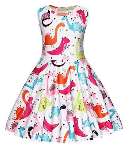 AmzBarley Dinosaurier Kostüm Kleid Kinder Ärmellos Kleider Mädchen Beiläufig Tiere Karikatur Sommerkleid Geburtstag Urlaubs Party Ankleiden Kleidung