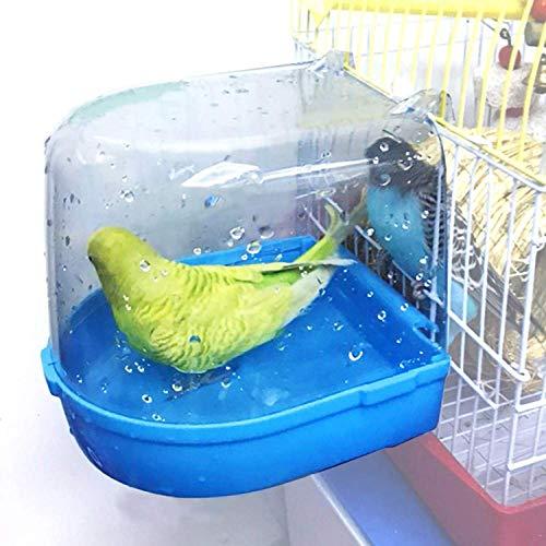 AYUBOOM Clear Bird Bath for Cage Bird Cage Accessories Hanging Bird Tub for Small Bird Cockatiel, Conure, Parakeet, Blue, by Ayuboom Blue