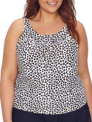 Coco Reef Plus Size Cheetah Ultra Fit Underwire Tankini Top, 46C, Ivory