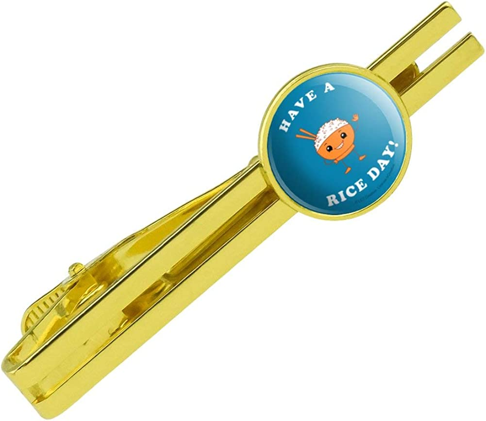 GRAPHICS & MORE Have a Rice Day Nice Bowl Funny Humor Round Tie Bar Clip Clasp Tack Gold Color Plated
