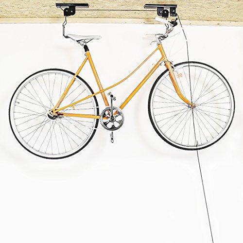 Relaxdays Fahrradaufhängung, Fahrradlift, bis 20 kg, Fahrrad Deckenhalter, mit Seilzug, für Garage und Keller, schwarz - 2