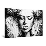 Startonight Canvas Wall Art Black and White Abstract Woman in Art, Framed Quantic Home Decor for Living Room 32' x 48'