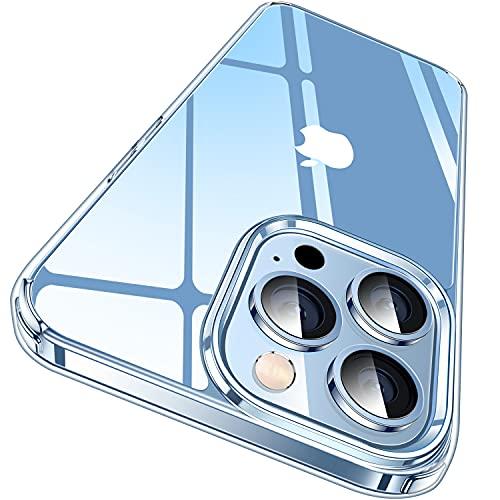 CASEKOO Crystal Clear Kompatibel für iPhone 13 Pro Hülle, [Nie Vergilbung] [Unzerstörbarer Militärschutz] Stoßfeste Kratzfeste Schutzhülle Transparent Hülle Dünn Handyhülle - Durchsichtig