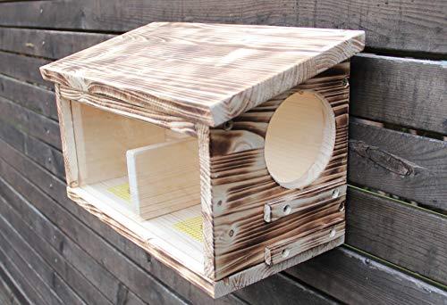Garten und Holztrends Eichhörnchenfutterhaus-(Ei-Futterhaus-7) Eichhörnchen-Haus-XXXL-Eichhörnchenhaus-Futterautomat-Futterhaus-Nistkasten-Kobel-Holzschindeldach-Vogelhaus