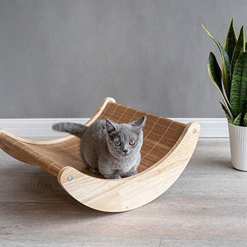 Cama para Perros Taburete Funcional Cama para Perros pequeña Silla Mecedora para Mascotas Hamaca para Gatos Cama de Madera Maciza ecológica