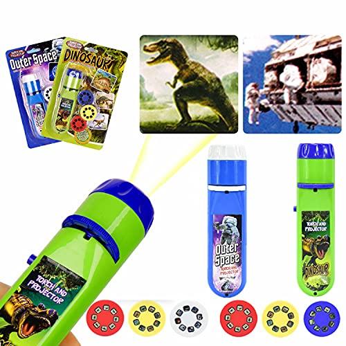 Linterna para niños, proyector para niños, linterna para presentaciones de diapositivas pequeñas, dinosaurios + espacio, para niños Good Night Story Beamer Toys (48 imágenes, 6 discos de diapositivas)