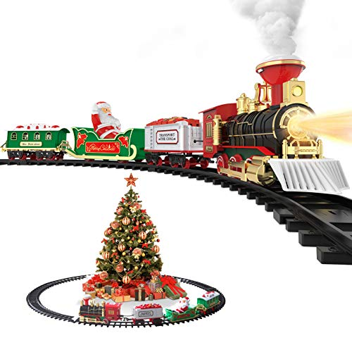 Hot Bee Christmas Toy Train Set, Electric Steam Train Toy w/ Smoke, Lights & Sounds Railway Tracks Kits for Under The Tree Gifts for 3 4 5 6 7 8+ Year Old Boys & Kids