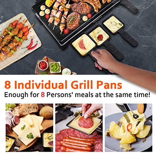 CUSIMAX Raclette Grill Electric Grill Table, Portable 2 in 1 Korean BBQ Grill Indoor & Cheese Ractlette, Reversible Non-stick plate, Crepe Maker with Adjustable temperature control and 8 Paddles
