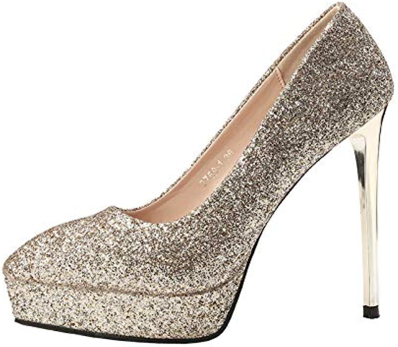 FLYRCX Pailletten zeigten Stilett Schuhe sexy Temperament High Heels Damen Party Hochzeitsschuhe