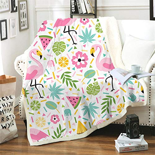 JNBGYAPS Flannel Fleece Throw Blankets Red flower green leaves and fruit bird Sherpa Throw Blanket Fleece Blanket Soft Cozy 3D Printed Throw Blanket Solid Blanket for Bed and Couch59.1x78.7 Inches