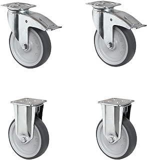 CASCOO SETTAFA150P2T2P0N wielenset 2 zwenkwielen met vastzetter, 2 bokwielen, polypropyleen, diameter 150 mm, apparaatwiel...