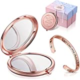 Inspirational Sister Present Set, Not a Day Over Fabulous Compact Mirror Makeup Mirror and Cuff Bangle Stainless Steel Bracelet for Sister, Birthday, Christmas Ideas, Mother's Day, Women, Friends
