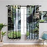 Waterfall Decor Collection - Set di tende per soggiorno, 2 pannelli, motivo: cascata rocciosa per laghetto, paesaggio paesaggistico, colore: verde oliva bianco