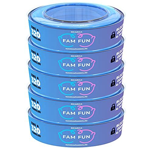 Fam Fun - Recambios Compatible con Cubo de Pañales AngelCare Comfort, Comfort Plus, Captiva y Deluxe, Foppapedretti Maialino, LitterLocker, II & Design - Juego de 5