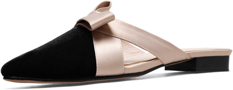 A-BUYBEA Women's Fashion 0.78  Low Block Heel Satin Fleece Slides shoes Size 4-8.5 Black bluee