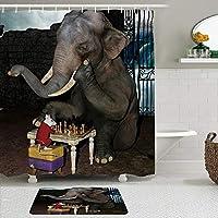 GEEVOSUN シャワーカーテン バスマット 2点セット 面白い動物の象とマウスがチェスをする 自家 寮用 ホテル 間仕切り 浴室 バスルーム 風呂カーテン 足ふきマット 遮光 防水 おしゃれ 12個リング付き