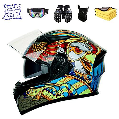 JUYHTY Casco Integral, Casco Juvenil para Niños, Casco De Motocross, Casco De Protección para Motocicleta MTB para Descenso Y Todoterreno con Guantes, Gafas, Bolsa Elástica, Toalla,S