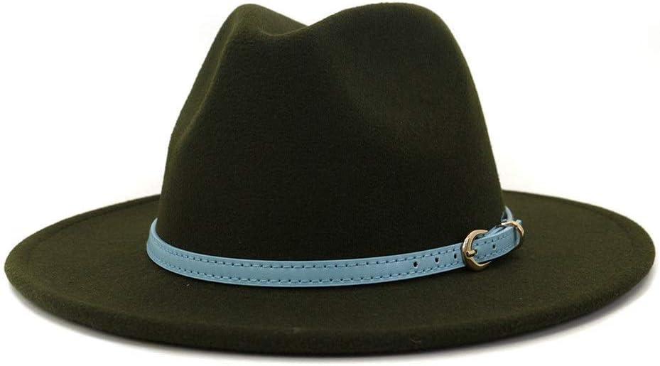 LHZUS Hats Men Women Cotton Fedora Fashion Jazz Fedora Hat Sun Hat Gentleman Hat Panama Straw Hat (Color : Dark Green, Size : 59-60cm)