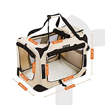 FEANDREA Sac de Transport pour Chien, Caisse Pliable pour Chien Beige 102 x 69 x 69 cm PDC10W