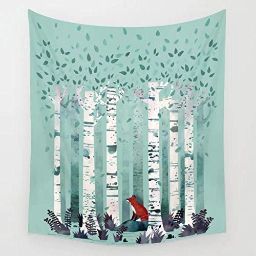 YDH The Birches Tapiz de Pared Zorro de Dibujos Animados Decoración para Colgar en la Pared Manta artística Cortina Tapices de sábanas Decoración del hogar- (71x91 Pulgadas) (180x230cm)