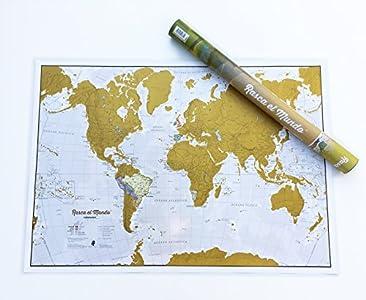 Póster del mapa mundi de rascar en Español con tubo de regalo - extragrande - 84 x 59 cm - Maps International - 50 años haciendo mapas - Detalles cartográficos con el país y los países limítrofes