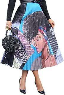 A-Line Pleated Vintage Skirts Graffiti Cartoon Printed Elastic Waist Swing Skirt for Women