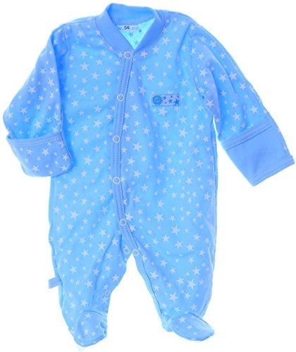 La Bortini Strampler mit Umschlagärmel Baby 50 bis 92 Overall Schalfanzug Blau mit Sterne (74)