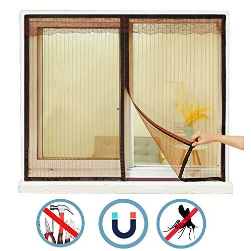 WISKEO Fliegengitter Fenster Klettband, Moskitoschutz Magnetvorhang, Klettband, Verschiedene Größen,Punch-Free, Schiebefenster Dachfenster - Brown 60x60 cm(WxH)