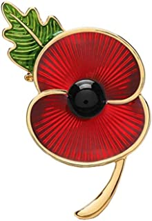 Poppy Brooches Remembrance Sunday Red Flower Rhinestone Badges Banquet Enamel Poppy Lapel Pin