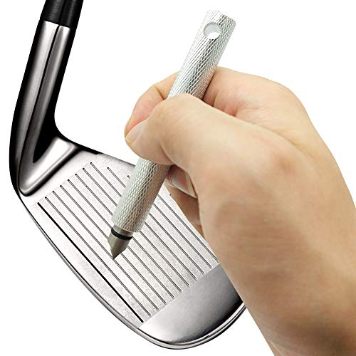 Golf Club Groove Sharpener Sharpening Tool Re-Grooving Cleaning Tool and Cleaner for Wedges & Irons (Silver)